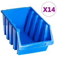vidaXL Stapelbakken 14 st kunststof blauw
