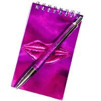 notitieboekje glitter lippen 13 x 8 cm papier roze