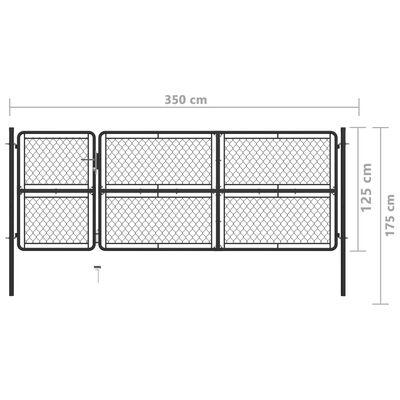 vidaXL Poort 125x350 cm staal antraciet