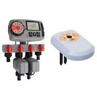 vidaXL Watertimer automatisch met 4 stations en vochtsensor 3 V