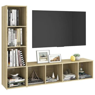 vidaXL Tv-meubelen 2 st 142,5x35x36,5 cm spaanplaat sonoma eikenkleur