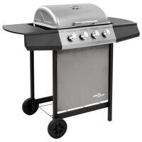 vidaXL Gasbarbecue met 4 branders zwart en zilverkleurig