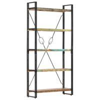 vidaXL Boekenkast met 5 schappen 90x30x180 cm massief gerecycled hout
