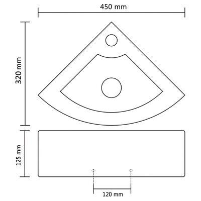 vidaXL Wastafel met overloop 45x32x12,5 cm wit