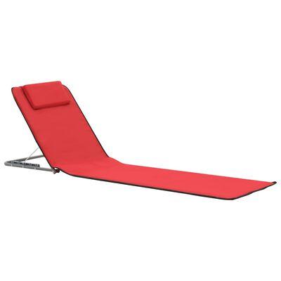 vidaXL Strandmatten inklapbaar 2 st staal en stof rood , Rood