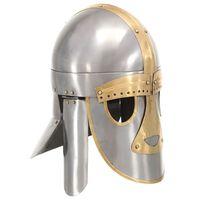 vidaXL Helm middeleeuws replica LARP staal zilverkleurig