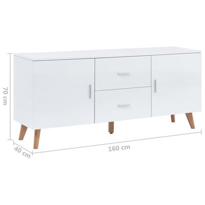 vidaXL Dressoir 160x40x70 cm MDF wit, White