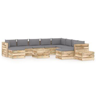 vidaXL 12-delige Loungeset met kussens groen geïmpregneerd hout