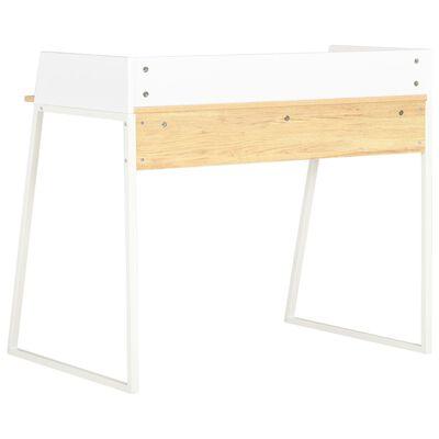 vidaXL Bureau 90x60x88 cm wit en eikenkleurig