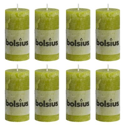 Bolsius Rustiekkaarsen 8 st 100x50 mm mosgroen