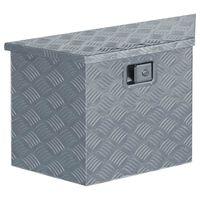 vidaXL Doos trapezoïde 70x24x42 cm aluminium zilverkleurig