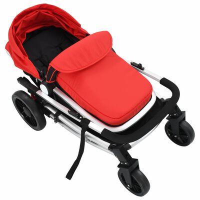 vidaXL Kinderwagen 2-in-1 aluminium rood en zwart