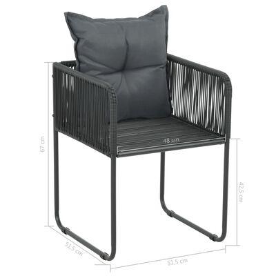 vidaXL 3-delige Tuinset PVC-rattan zwart en bruin