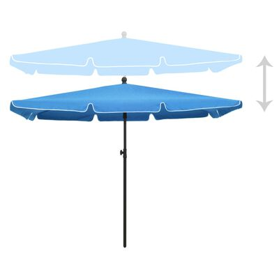 vidaXL Parasol met paal 210x140 cm azuurblauw