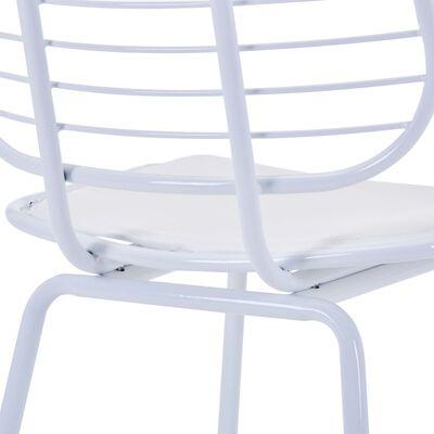 vidaXL Eetkamerstoelen met kunstleren zittingen 6 st staal wit