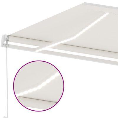 vidaXL Luifel handmatig uittrekbaar met LED 400x350 cm crèmekleurig