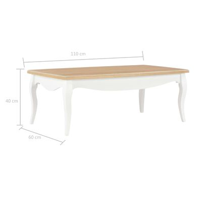 vidaXL Salontafel 110x60x40 cm massief grenenhout wit en bruin