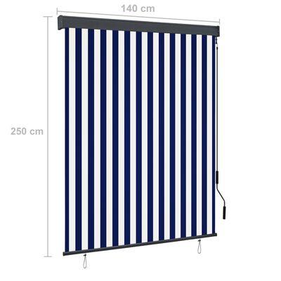 vidaXL Rolgordijn voor buiten 140x250 cm blauw en wit