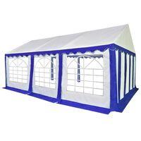 vidaXL Tuinpaviljoen 4x6 m PVC blauw en wit