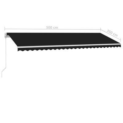 vidaXL Luifel vrijstaand handmatig uittrekbaar 500x350 cm antraciet