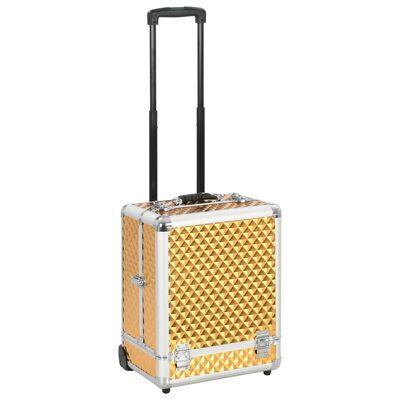 vidaXL Make-up trolley 35x29x45 cm aluminium goudkleurig