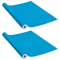 vidaXL Meubelfolies zelfklevend 2 st 500x90 cm PVC azuurblauw