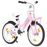 vidaXL Kinderfiets met voordrager 18 inch roze en zwart