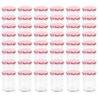 vidaXL Jampotten met wit met rode deksels 48 st 400 ml glas