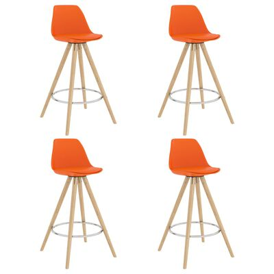 vidaXL Barkrukken 4 st PP en massief beukenhout oranje
