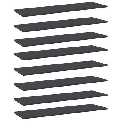 vidaXL Wandschappen 8 st 100x30x1,5 cm spaanplaat grijs