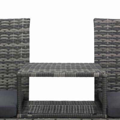 vidaXL Tuinbank 2-zits met tafeltje poly rattan antraciet
