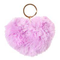 LG-Imports sleutelhanger fluffy hart paars