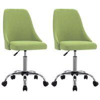vidaXL Kantoorstoelen met wieltjes 2 st stof groen