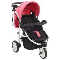 vidaXL Kinderwagen met 3 wielen roze en zwart