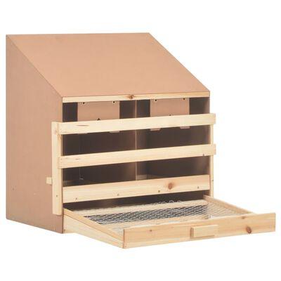 vidaXL Kippenlegkast 2 compartimenten 63x40x65 cm massief grenenhout