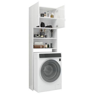 vidaXL Wasmachinekast 64x25,5x190 cm spaanplaat hoogglans wit