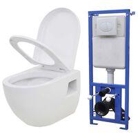 vidaXL Hangend toilet met verborgen stortbak keramiek wit