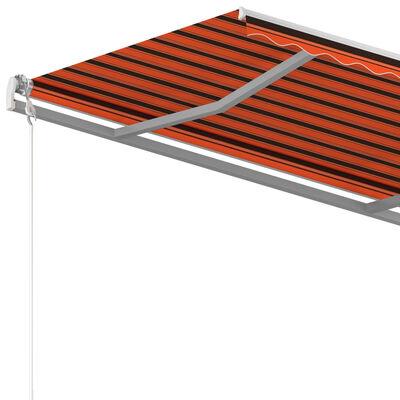 vidaXL Luifel handmatig uittrekbaar met palen 3x2,5 m oranje en bruin