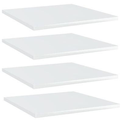 vidaXL Wandschappen 4 st 40x40x1,5 cm spaanplaat hoogglans wit