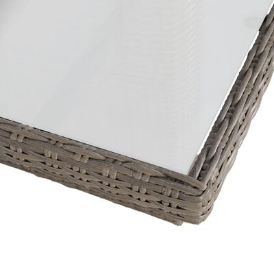 vidaXL 9-delige Tuinset poly rattan bruin