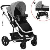 vidaXL Kinderwagen 2-in-1 aluminium grijs en zwart