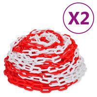 vidaXL Veiligheidskettingen 2 st 30 m kunststof rood en wit