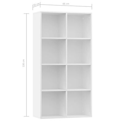 vidaXL Boekenkast/dressoir 66x30x130 cm spaanplaat wit