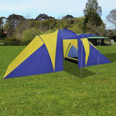 vidaXL Tent 6-persoons blauw/geel