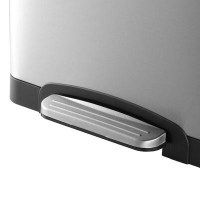BLACK+DECKER Pedaalemmer - 2x20L - RVS - soft close