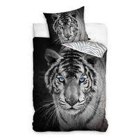Dekbedovertrek Wit Tiger - Zwart/Grijs -  140x200 cm