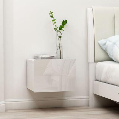 vidaXL Nachtkastjes 2 st 40x30x30 cm spaanplaat hoogglans wit