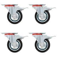 vidaXL Zwenkwielen met dubbele remmen 4 st 75 mm
