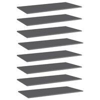 vidaXL Wandschappen 8 st 80x20x1,5 cm spaanplaat hoogglans grijs