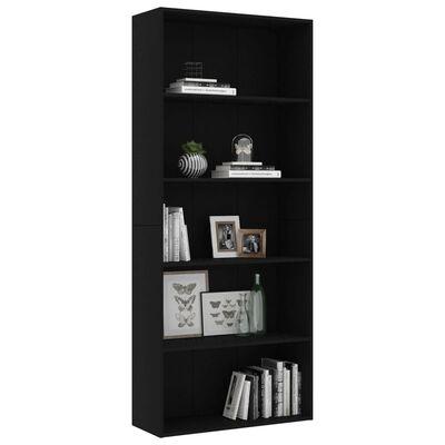 vidaXL Boekenkast met 5 schappen 80x30x189 cm spaanplaat zwart